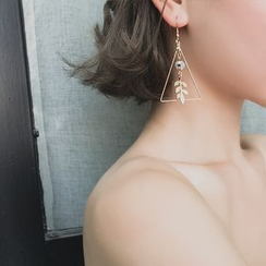 Show Mind - Leaf-Motif Beaded Geometric Drop Earrings