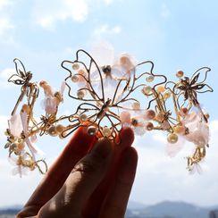 First Impression - Wedding Faux Pearl Flower Tiara