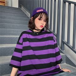 Whoosh(ウーシュ) - Elbow-Sleeve Striped T-Shirt