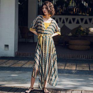 Nymphora - Set: Patterned Elbow-Sleeve Maxi Sundress + Slipdress