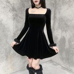meadowdrop - Set: Square-Neck Mini A-Line Dress + Fluffy Trim Knee-High Socks