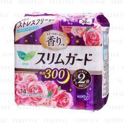 花王 - 乐而雅超薄瞬吸透气夜用护翼卫生巾 玫瑰清香 30cm