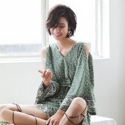 Sincethen - Patterned Cold-Shoulder Wide-Sleeve Playsuit