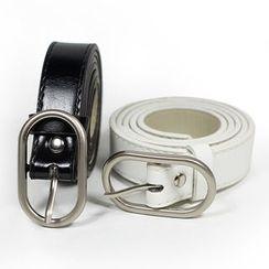 Rofuka - Oval Buckled Faux Leather Belt