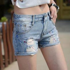 Sugar Hime - Distressed Denim Shorts