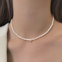 MOMENT OF LOVE - Bead Alloy Freshwater Pearl Choker