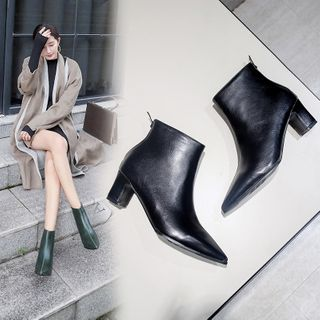 Cinnabelle - Faux Leather Block-Heel Pointed Ankle Boots