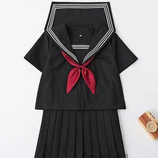Nanachan - 水手領襯衫 / 開衫 / 褶襉裙 / 套裝