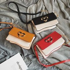 FAYLE - Heart Accent Faux Leather Crossbody Bag