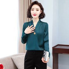 In the Mood - Long-Sleeve Chiffon Blouse