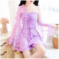 Petit Lace - Set: Floral Sheer Shirt + Sleeveless Smocked Top + Shorts
