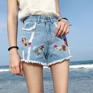 Tanee - Embroidered Denim Shorts