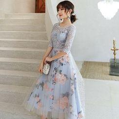 Wonhi - 蕾丝拼接中袖中长A字礼服裙