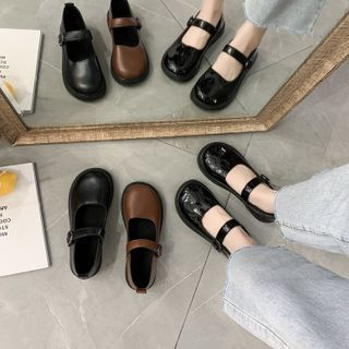 Belbie - Plain Round-Toe Mary Jane Shoes