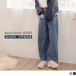 OrangeBear - 小復古男友风后鬆紧丹宁/牛仔宽裤.附编织皮带