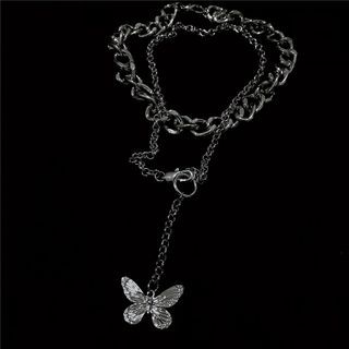 Porstina - Butterfly Pendant Layered Chain Necklace