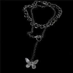 Porstina - Set of 2: Butterfly Chain Necklace + Chunky Chain Necklace