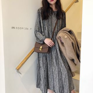 Minimince - Printed Long-Sleeve Midi Shift Dress / Camisole
