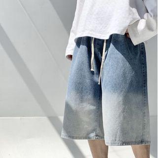 Freehop - High-Waist Drawstring Denim Shorts