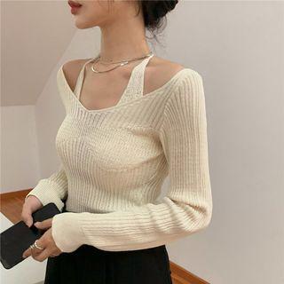 Baage - Long-Sleeve Halter-Neck Knit Top