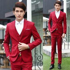 Sheck(シェック) - Set: Single-Button Blazer + Dress Pants + Vest