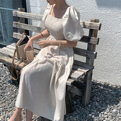 Cherryville - Puff-Sleeve Smocked-Panel Maxi Dress