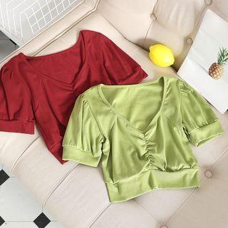 Chitpo - V-Neck Puff Short-Sleeve Top