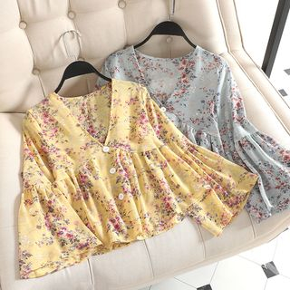 Chitpo - Floral V-Neck Bell-Sleeve Chiffon Top