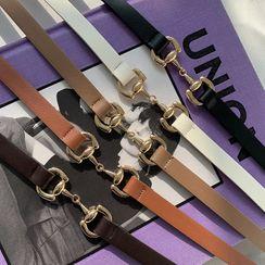 DABAGIRL - Horsebit-Buckle Slim Pleather Belt