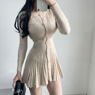 Ohnana - Long-Sleeve Knit Pleated Dress