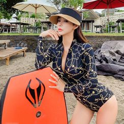 Salanghae - 長袖拉鏈印花泳裝