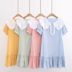 TOJI - 短袖饰领荷叶连衣裙