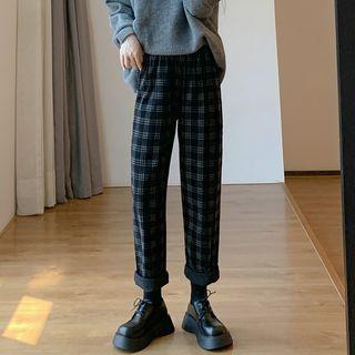 Indiclofie(イディコルフィー) - Cropped Wide-Leg Plaid Corduroy Pants