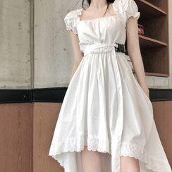 IKIO - Square Neck Short-Sleeve A-Line Dress