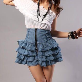 RINA - High-Waist Ruffled Denim Skirt
