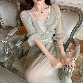Yuxi - Set: Lantern-Sleeve Maxi Chiffon Dress + Spaghetti Strap Dress