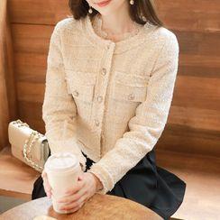 MyFiona - Fringed Cropped Tweed Jacket