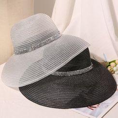 Skycap - Rhinestone Sequins See-Through Straw Hat