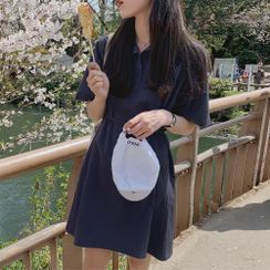 Yunhouse - Short-Sleeve Plain Mini Polo Dress