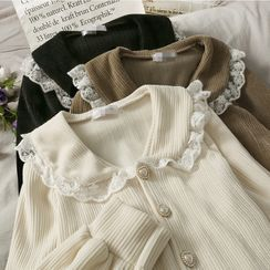 Lemongrass(レモングラス) - Peter Pan-Collar Lace-Trim Corduroy Shirt
