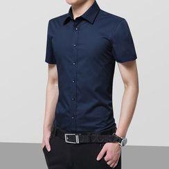 Bangap - 純色短袖襯衫