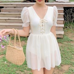 GOURAMI - Short-Sleeve Lace-up A-Line Swim Dress