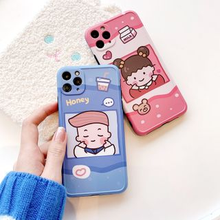 Mobby - Couple Matching Cartoon Print Phone Case - iPhone 11 Pro Max / 11 Pro / 11 / XS Max / XS / XR / X / 8 / 8 Plus / 7 / 7 Plus / 6s / 6s Plus