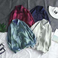 YAVER - Long-Sleeve Satin Shirt
