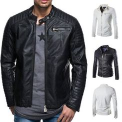Sheck - Faux Leather Zip Biker Jacket
