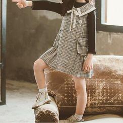 Island Puppies - 小童套装: 长袖T裇 + 格子无袖A字连衣裙