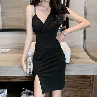 Bobin - Sleeveless Asymmetric Mini Bodycon Dress