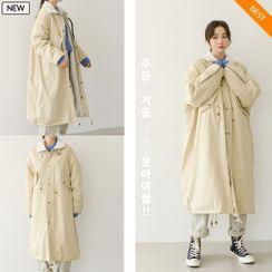 PPGIRL - Belted Fleece-Lined Long Safari Coat