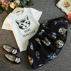 ZiG ZaG - Kids Set: Short-Sleeve Cat Print T-Shirt + Mini A-Line Skirt