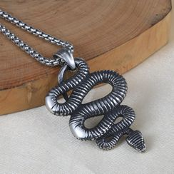 Prushia - Stainless Steel Snake Pendant Necklace